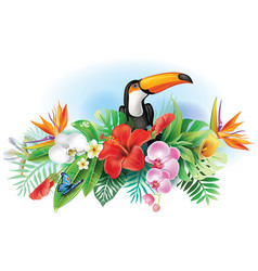 Toucan and tropical flowers vector