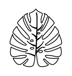 tropical leaf black icon vector image vector image