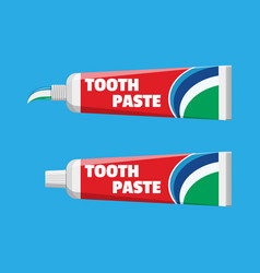 Tube with squeezed paste package with tooth paste vector