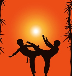 Two boys demonstrate karate on a background a sun vector