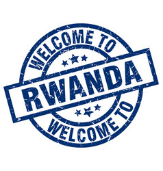 Welcome to rwanda blue stamp vector