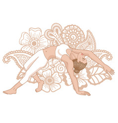 Women silhouette wild thing yoga pose vector