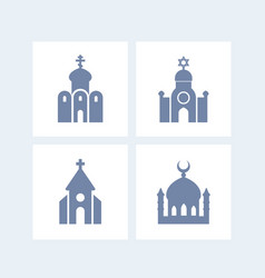 Religion buildings icons isolated over white vector