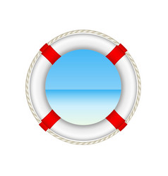 white life buoy as beach concept with rope around vector image