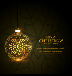 golden christmas ball made with snowflakes on vector image