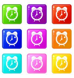 alarm clock retro classic design icons 9 set vector image