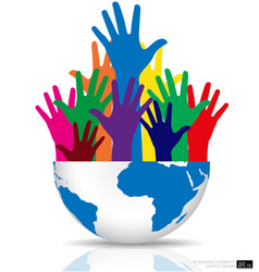Colorful raised hands and globe vector