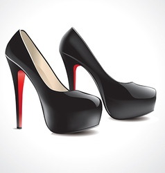Pair of black high heeled shoes vector
