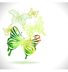 Green color background with watercolor butterflies vector