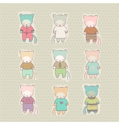 Set of cute cartoon cats dressed vector