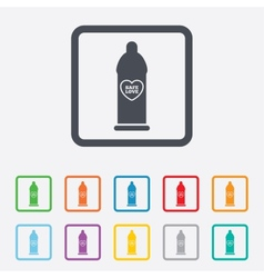 Condom safe sex sign icon barrier contraceptive vector