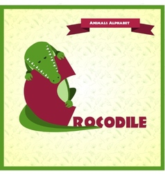 Alphabet letter c and crocodile vector