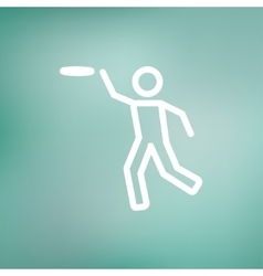 Man catching a flying disc thin line icon vector