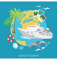 Water tourism background flat style design vector