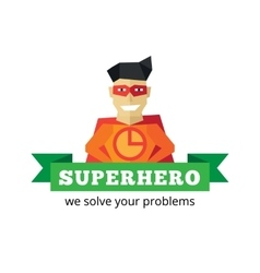 Flat super hero logotype cartoon style vector