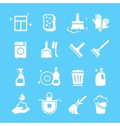 Cleaning and higiene white icons set vector