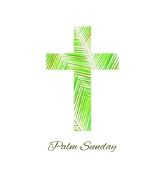 Palm sunday cross isolated on white background vector