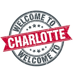 Welcome to charlotte red round vintage stamp vector