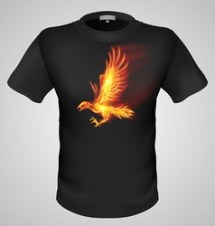 T shirts black fire print man 08 vector