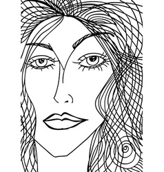 Abstract sketch of woman face vector image