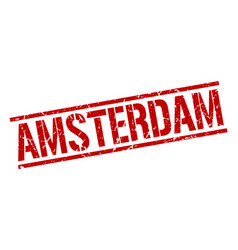Amsterdam red square stamp vector