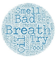 Bad breath halitosis text background wordcloud vector
