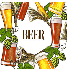banner of beer bottle mug and glass malt and hop vector image vector image