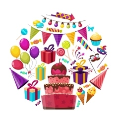 Birthday elements round composition vector
