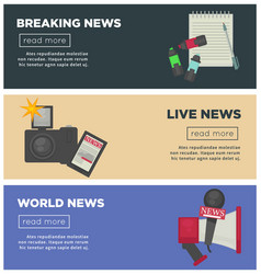 Breaking news and journalism profession flat vector