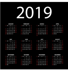 calendar for 2019 vector image vector image