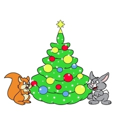 Christmas tree for squirrel and rabbit vector image vector image