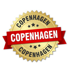 Copenhagen round golden badge with red ribbon vector