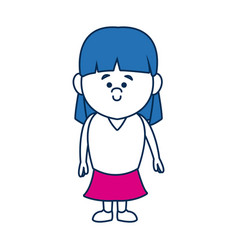 Cute little girl smiling character kid vector