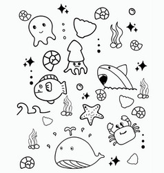 Doodle cute marine lifedoodle drawing style hand vector