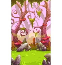 Fantasy cartoon forest landscape vector image vector image