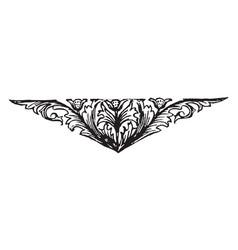 Floral motif have a big leaves n three flowers vector