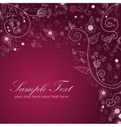 Floral twirl postcard lilac vector