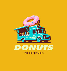 Food truck logo donuts vector