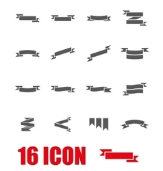 Grey ribbon icon set vector