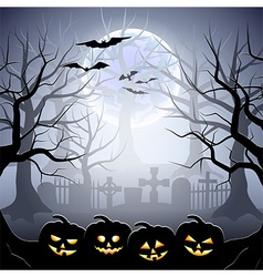 Halloween graveyard and pumpkins in foggy forest vector