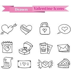 Hand draw of valentine day icons collection vector