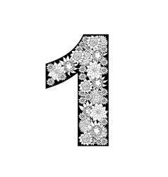 Hand drawn floral alphabet design Digit 1 vector image