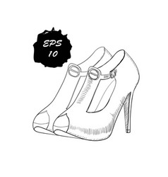 hand drawn graphic women footwear vector image