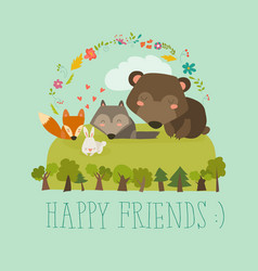 Happy friends in the forest bearfoxrabbit wolf vector