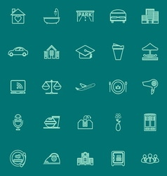 Hospitality business green line icons vector
