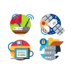 Internet technology icon set vector
