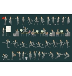 Large set of businessman character poses vector image