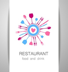love restaurant logo identity vector image vector image