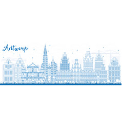 outline antwerp skyline with blue buildings vector image