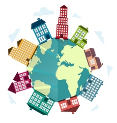 Planet concept city life vector